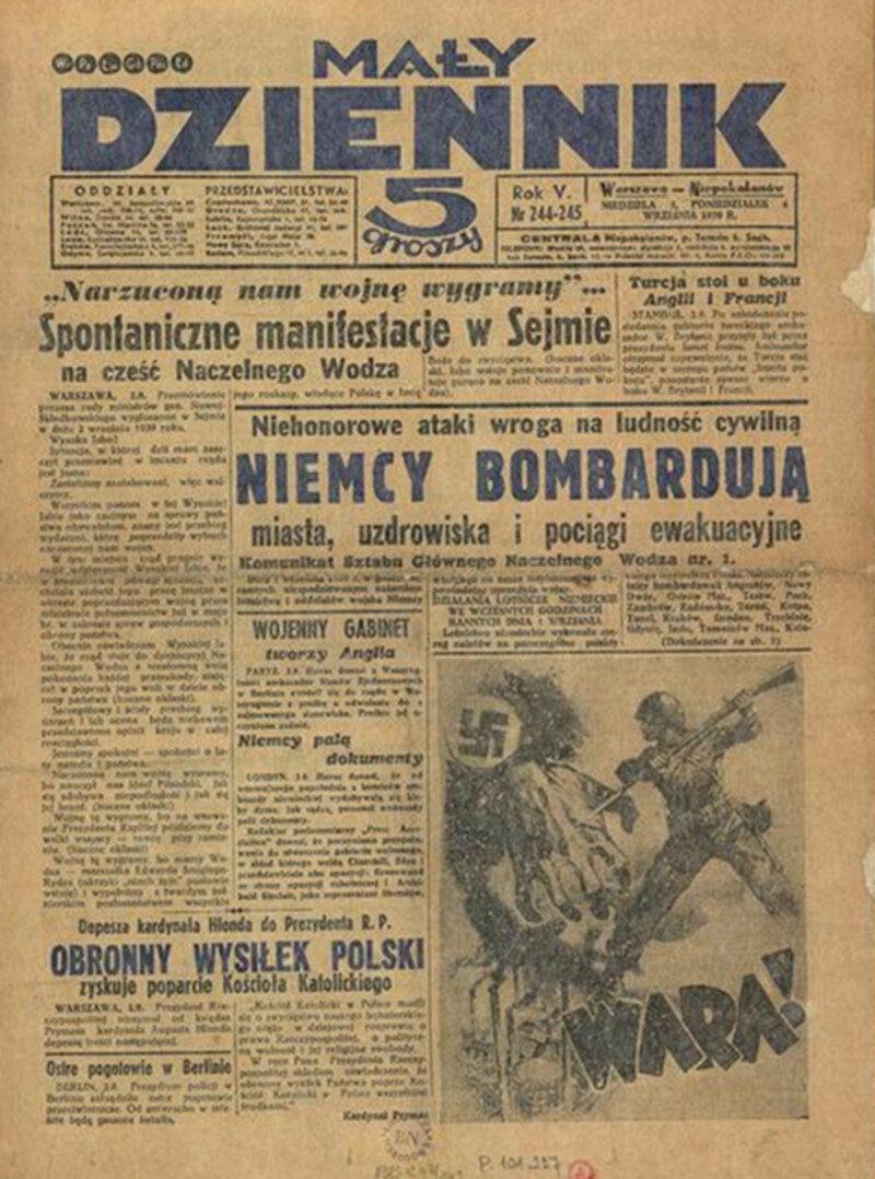 """""""Mały Dziennik"""", 3 września Katolicki """"Mały Dziennik"""" rzetelnie informował o pierwszych niemieckich zbrodniach w Polsce."""
